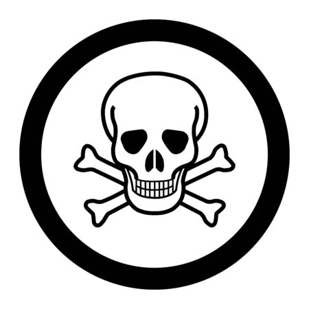 White skull and crossbones in a circle