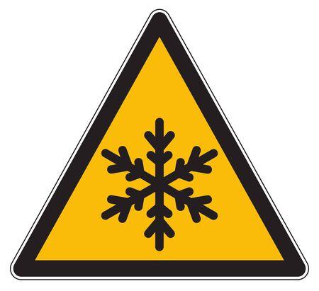 Yellow warning hazard symbol low temperatures Banco de Imagens