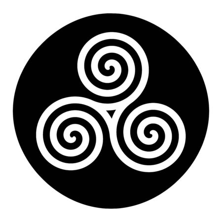 Triskelion symbol icon in a black circle