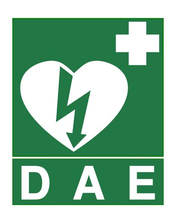 AED sign called DAE in French language Stok Fotoğraf