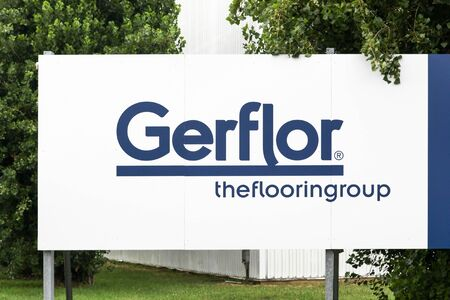 Villefranche - August 6, 2019: Gerflor logo on a panel. Gerflor is a French company based in Villeurbanne, near Lyon. The company offers a complete range of floor coverings