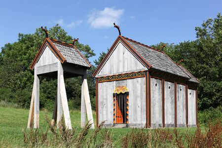 Viking stave church of Moesgaard near Aarhus in Denmark Zdjęcie Seryjne