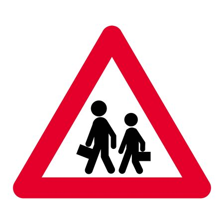 School warning or crossing road sign Banque d'images - 132048769