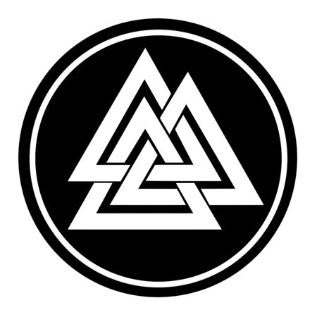 Valknut symbol in a black circle Stock Photo