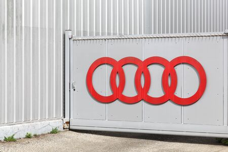 Villefranche, France - September 22, 2019: Audi logo on a portal. Audi is a German automobile manufacturer that designs, engineers, produces, markets and distributes luxury vehicles
