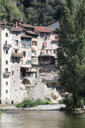 Suspended houses in the village of Pont en Royans, France Stock Photo