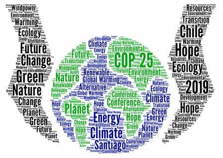 COP 25 in Santiago, Chile word cloud
