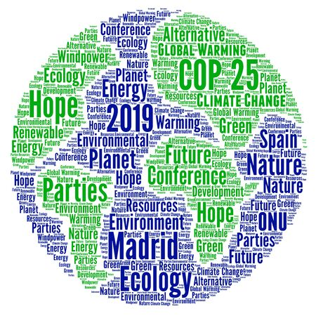 COP 25 in Madrid, Spain word cloud Banco de Imagens