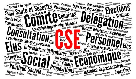 Social and Economic Committee called CSE in France word cloud in french language Stock Photo