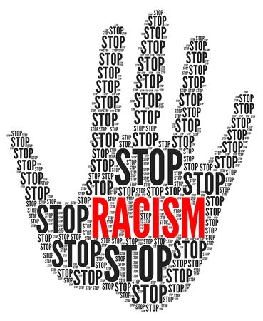 Stop racism illustration with a white background