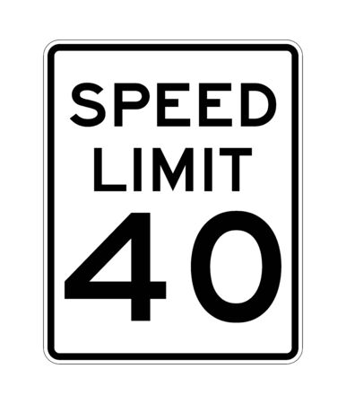 Speed limit 40 road sign in USA