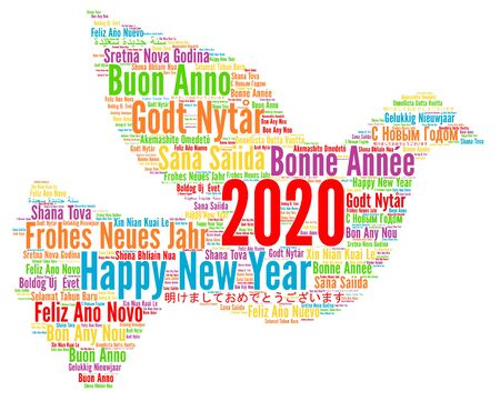 Happy New Year 2020 in different languages Banque d'images - 136907842