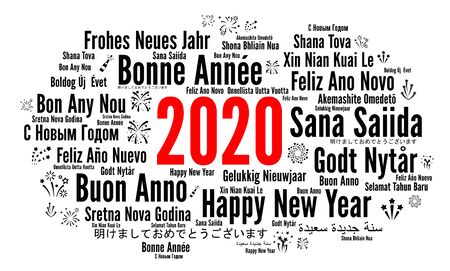 Happy New Year 2020 in different languages Banque d'images - 136866415