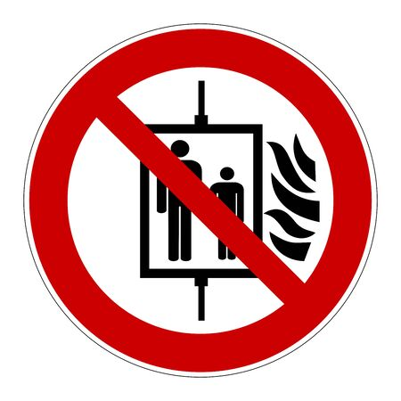 Do not use lift in case of fire sign Stockfoto