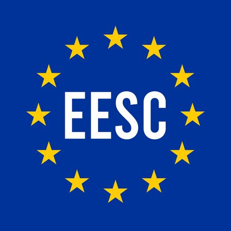 EESC, European Economic and Social Committee sign illustration with the European flag