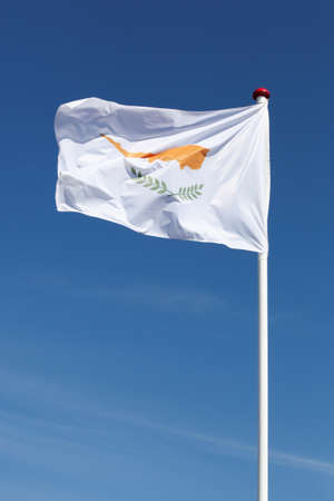 Flag of Cyprus waving in the sky