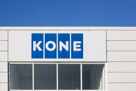 Aarhus, Denmark - October 14, 2018: Kone founded in 1910 in Finland, is an international engineering and service company and one of the largest manufacturers of elevators and escalators worldwide