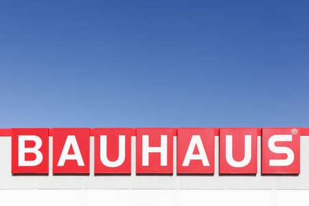 Viby, Denmark - September 22, 2018: Bauhaus logo on a building. Bauhaus is a Swiss-headquartered pan-European retail chain offering products for home improvement, gardening and workshop
