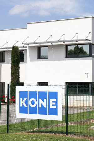 Saint Priest, France - May 16, 2020: Kone founded in 1910 in Finland, is an international engineering and service company and one of the largest manufacturers of elevators and escalators worldwide