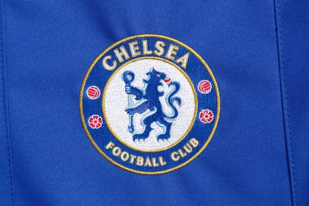 London, United Kingdom - February 1, 2018: Chelsea football club logo on a shirt. Chelsea Football Club is a professional football club in London, England Editorial