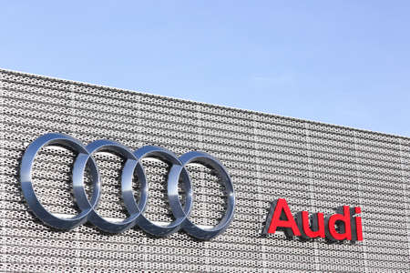 Villefranche, France - March 14, 2018: Audi building. Audi is a German automobile manufacturer that designs, engineers, produces, markets and distributes luxury vehicles Editorial