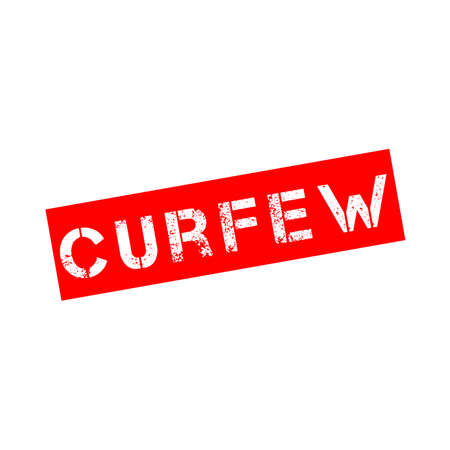 Rubber stamp with text curfew