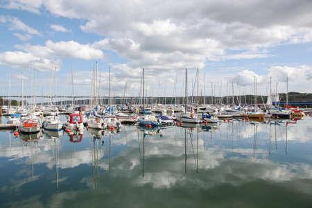 Vejle, Denmark - May 8, 2015: Vejle fjord with the harbor in Denmark