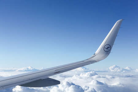 Germany - September 19, 2015: Lufthansa aircraft in the sky. Lufthansa is a german airline and also the largest airline in Europe