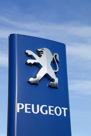 Skanderborg, Denmark - September 6, 2015: Peugeot is a French cars brand, part of PSA Peugeot Citroen group  and Peugeot company was founded in 1810