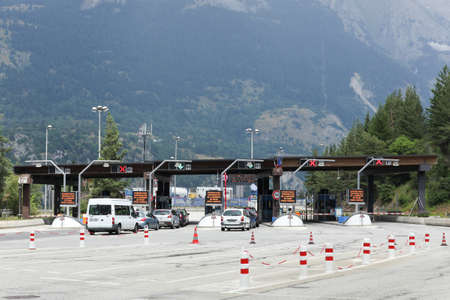 Modanne, France - July 19, 2015: Motorway toll at the frejus tunnel in France. The Frejus road tunnel is a tunnel that connects France and Italy