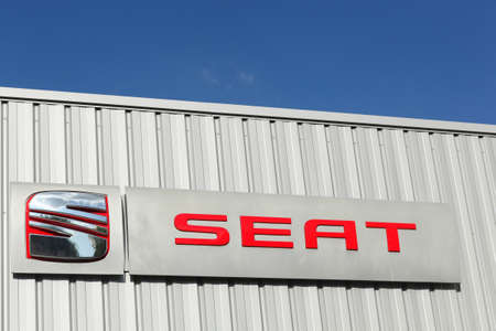 Villefranche, France - September 20, 2015: SEAT is a spanish automobile manufacturer with its head office in Martorell and it is currently a wholly owned subsidiary of the German Volkswagen Group Éditoriale