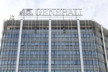 Milan, Italy - September 16, 2016: Generali logo on a building. Generali is the largest insurance company in Italy and third in the world. It has its headquarters in Trieste, Italy