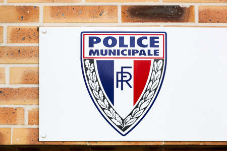 Sennecey, France - July 5, 2020: Municipal Police building and sign in France. The Municipal Police are the local police of towns and cities in France outside the capital