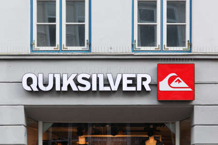 Flensburg, Germany - December 14, 2017: Quiksilver sign on a wall. Quiksilver is a brand of surf-inspired apparel and accessories that was founded in 1969 in Torquay, Australia