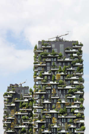 Milan, Italy - April 15, 2016: Vertical forest building called Bosco verticale in Italian, Milan, Italy