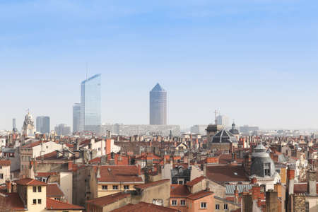 Lyon, France - January 27, 2016: View of the city of Lyon from La Croix Rousse