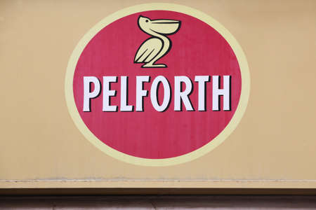 Pontcharra, France - June 27, 2020: Pelforth sign on a wall. Pelforth is a French brand of beer originally from Lille and today belonging to the Heineken group