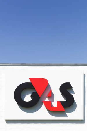Aalborg, Denmark - May 8, 2016: G4S logo on a wall. G4S is a British multinational security services company headquartered in central London and It is the world's largest security company Éditoriale