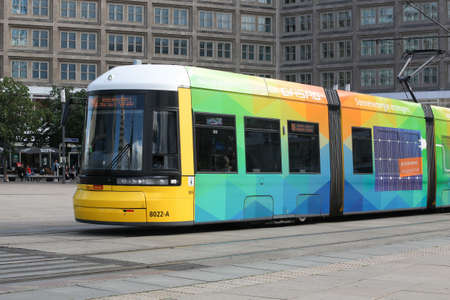 Berlin, Germany - July 12, 2020: Colorful tramway in Alexander Platz, Berlin. The Berlin tramway is the main tram system in Berlin, Germany