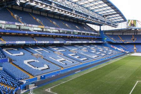 London, United Kingdom - February 1, 2018: Stamford bridge stadium in Chelsea, London. Stamford bridge is the home of Chelsea Football Club, a professional football club in London, England