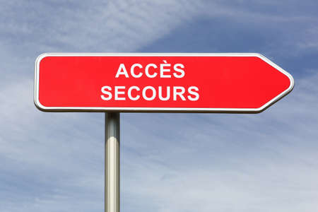 Emergency access road sign called acces aide in french language