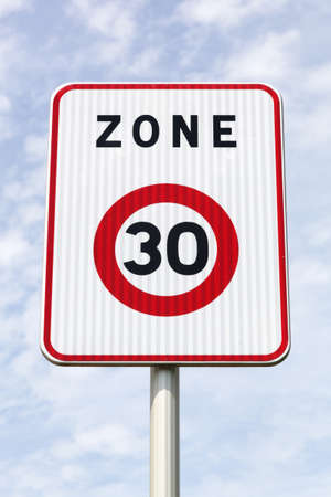 Zone 30 road sign in France