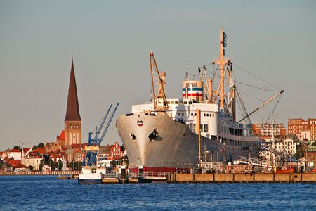 furlough: View to the city port of Rostock. Stock Photo
