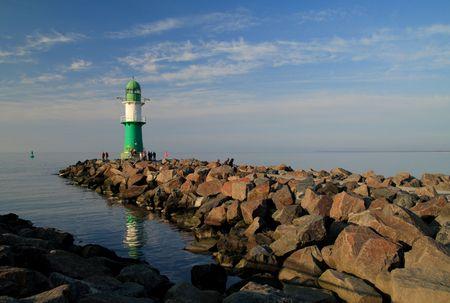Mole in Warnemuende (Baltic Sea). Stock Photo