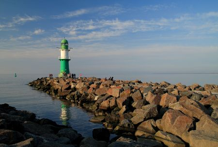 Mole in Warnemuende (Baltic Sea). Standard-Bild