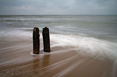 weather beaten: Est sulla spiaggia del Mar Baltico.