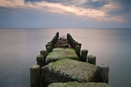 Groyne in the evening light. photo