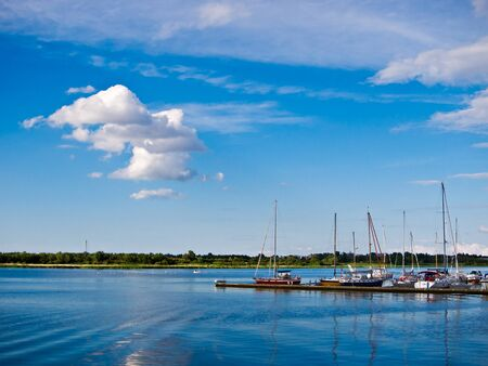 The city port of Rostock (Germany). Stock Photo