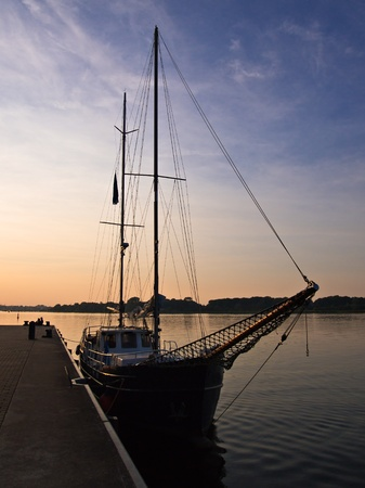rostock: A sailing ship in the city port of Rostock (Germany).
