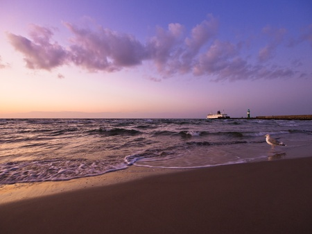 Evening on shore of the Baltic Sea in Germany.